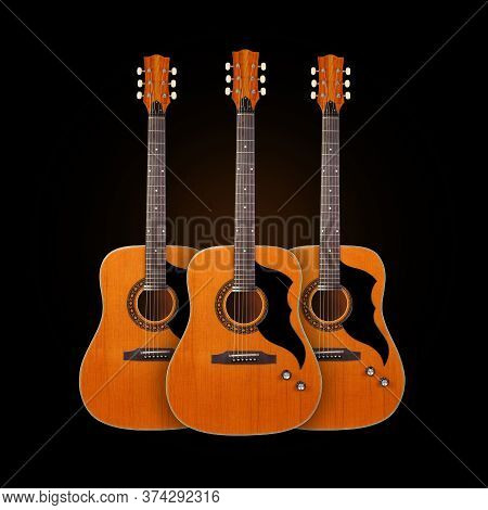 Musical Instrument - Front View Three Classic Vintage Acoustic Guitar Isolated On A Black Background