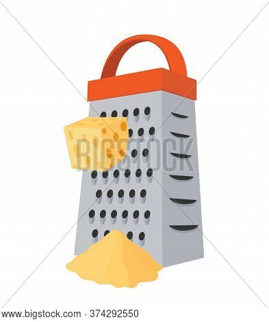 Vector Grater With Cheese. Domestic Shredder With Gouda