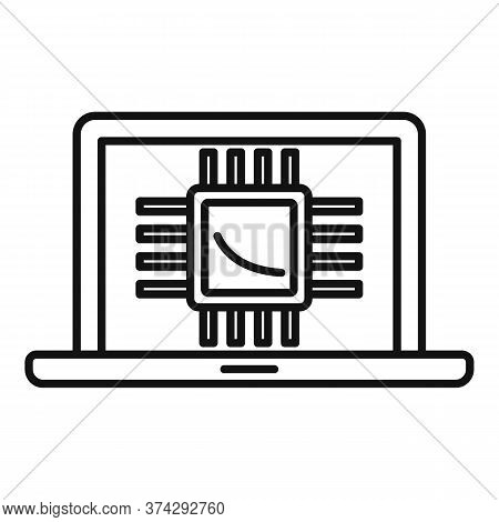 Ai Laptop Processor Icon. Outline Ai Laptop Processor Vector Icon For Web Design Isolated On White B