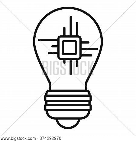 Ai Processor Bulb Icon. Outline Ai Processor Bulb Vector Icon For Web Design Isolated On White Backg