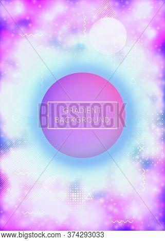 Neon Background With Liquid Purple Shapes. Luminous Fluid. Fluorescent Cover With Bauhaus Gradient.