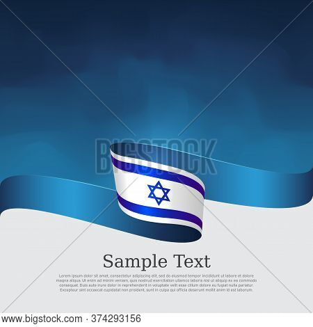 Israel Flag Background. Color Wavy Ribbons Of The Flag Of Israel On A White Blue Background. State I
