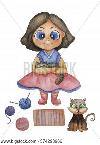 Watercolor. Illustration Of A Cute Brunette Girl With A Black Cat In Her Arms And In Bright Clothes.