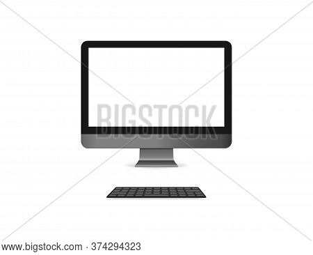 Realistic Computer Monitor With Keyboard. Isolated Desktop Screen. Pc Mockup With Black Keyboard And