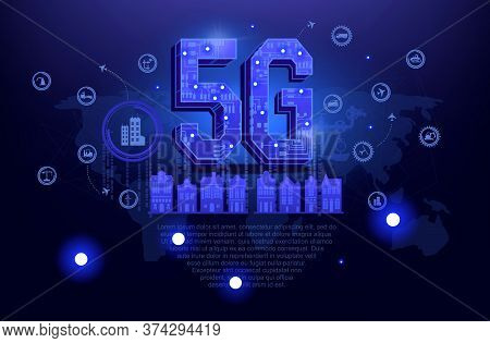 5g Technology. 3d Letters With Electronic Circuit Board. 5g Network Of Wireless Systems. Technologic