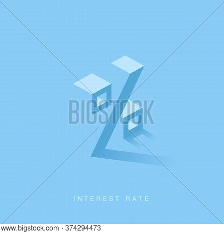 Percentage Sign Isometric. Interest Rate Financial And Mortgage Rates Concept. Vector Illustration 3
