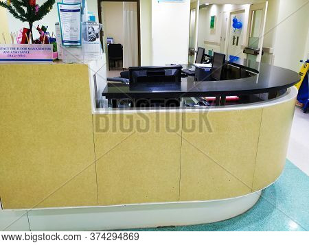 Closeup Of Interior Design And Reception Cabin In A Columbia Asia Referral Hospital. Reception Area