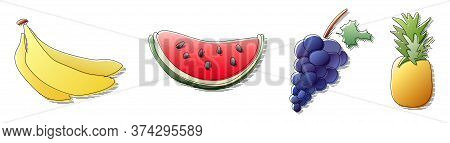 Hand Drawn In Colorful Gradient Colors Banana, Watermelon, Pineapple, Grape Fruit With Black Line Si