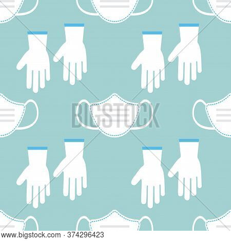 Medical Seamless Pattern With Ppe Personal Protective Equipment. Virus Prevention. Face Medical Mask