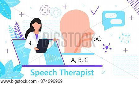 Speech Therapist For Online Consultation Concept Vector. Family Doctor For Remote And Distance Medic