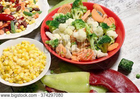 Frozen Vegetables, Quick-frozen Vegetables In Healthy Diet, In Healthy Eating, Vegetarian And Vegan