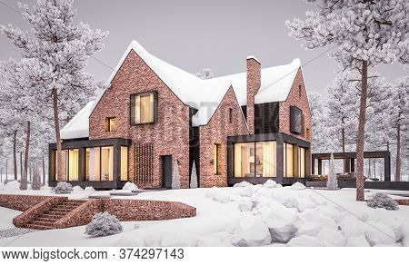 3D Rendering Of Modern Clinker House On The Ponds With Pool In Winter Evening