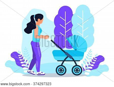 White Woman Is Walking With Baby Stroller. Happy Motherhood Lifestyle Concept Vector On Floral Backg
