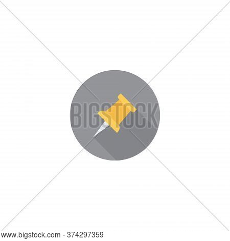 Paper Pin Icon In Trendy Flat Style. Pushpin Symbol Vector Illustration