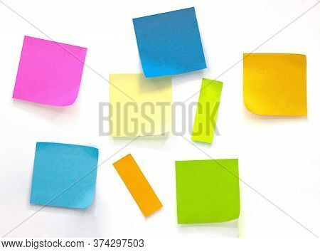 Collection Of Different Colored Sheets Of Note Papers Isolated On White Background,post It Notes