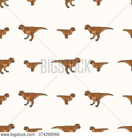 Seamless Background Carnotaurus Two Dinosaur Print Gender Neutral Baby Pattern. Simple Whimsical Min