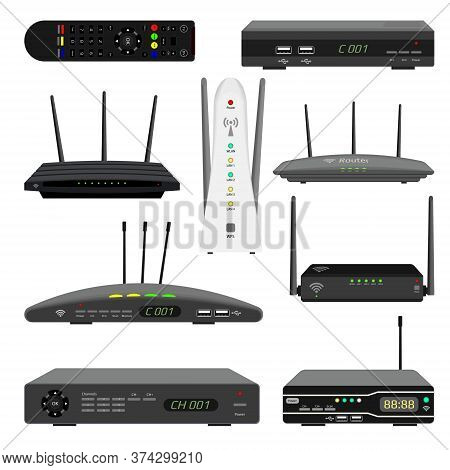 Set Of Realistic Wi-fi Routers And Digital Television Receivers. Satellite Receiver And Tv Remote Co
