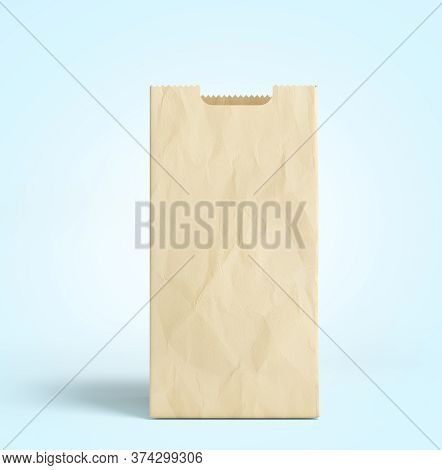 Empty Paper Bag For Products 3d Render On A Blue Gradient Background