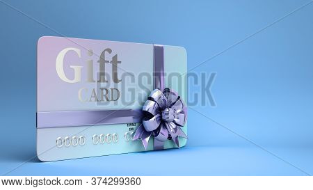 Vip Gift Card With Bow 3d Render On A Blue Gradient Background