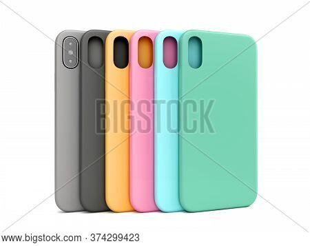 Multicolored Phone Cases Presentation For Showcase 3d Render On White
