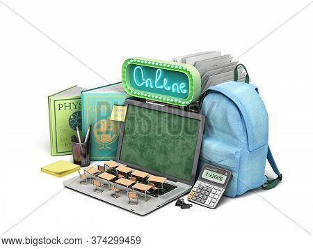 Online Education Concept Blue Backpack With School Supplies And Laptop 3d Render On White