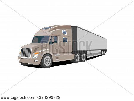 North American Semi Truck Over White Background