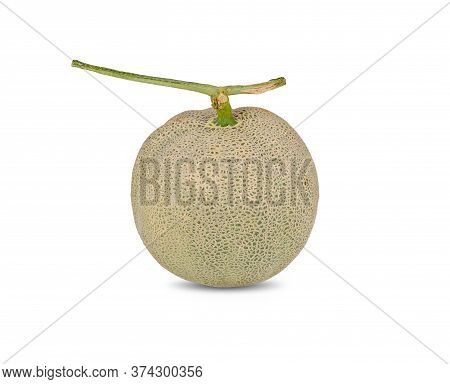 Whole Ripe Muskmelon With Stem On White Background