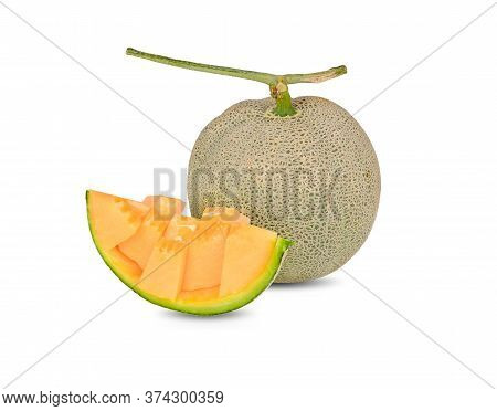 Whole And Portion Cut Ripe Muskmelon With Stem On White Background
