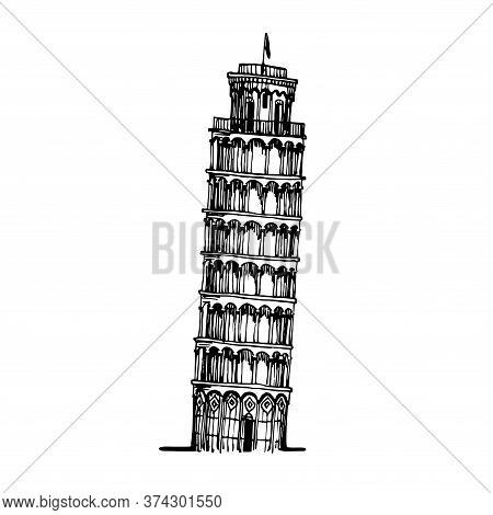 Leaning Tower Of Pisa, Famous Italian Tourist Landmark, Vector Illustration With Black Ink Contour L