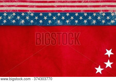 Retro Usa Stars And Stripes Burlap Ribbon On Red Fabric Background With Copy Space For Your American