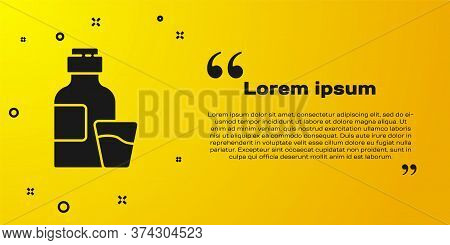 Black Bottle Of Medicine Syrup And Dose Measuring Cup Solid Icon Isolated On Yellow Background. Vect