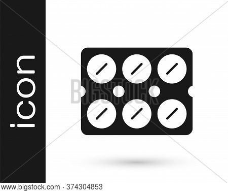Grey Pills In Blister Pack Icon Isolated On White Background. Medical Drug Package For Tablet, Vitam