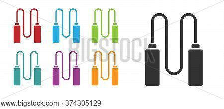 Black Jump Rope Icon Isolated On White Background. Skipping Rope. Sport Equipment. Set Icons Colorfu