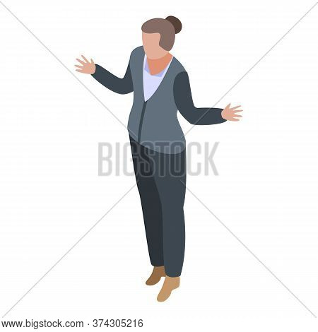 Woman Broker Icon. Isometric Of Woman Broker Vector Icon For Web Design Isolated On White Background