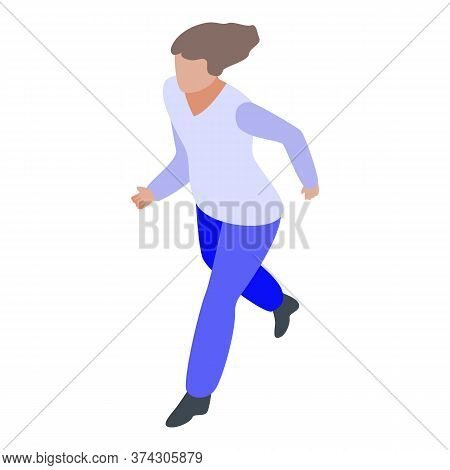 Deadline Running Woman Icon. Isometric Of Deadline Running Woman Vector Icon For Web Design Isolated