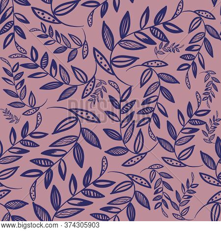 Blue Outline Branch With Leaves On Red Background. Simple Seamless Spring Pattern. Doodle Print. Pac