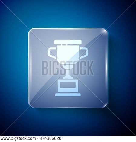 White Award Cup Icon Isolated On Blue Background. Winner Trophy Symbol. Championship Or Competition