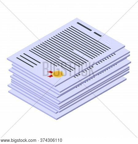 Deadline Work Papers Icon. Isometric Of Deadline Work Papers Vector Icon For Web Design Isolated On