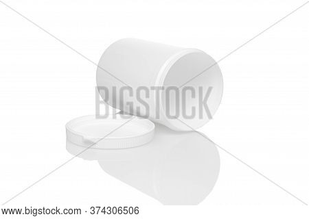 White Opened Blank Plastic Container With Lid Isolated On White Background. Close Up View