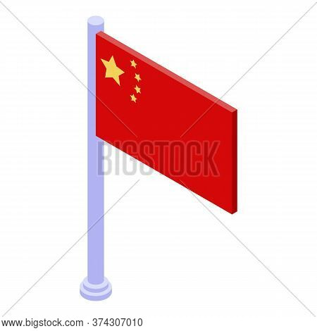 Trade War China Flag Icon. Isometric Of Trade War China Flag Vector Icon For Web Design Isolated On