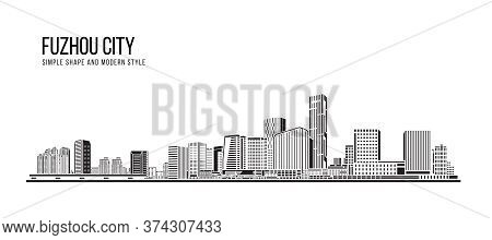 Cityscape Building Abstract Simple Shape And Modern Style Art Vector Design -  Fuzhou City