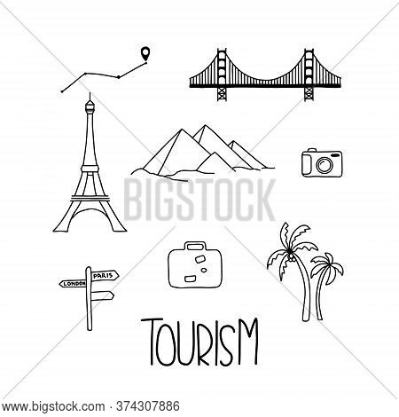 Tour, Travel And Vacation Icons Set And Lettering Tourism. Famous City Symbols And Other Elements.