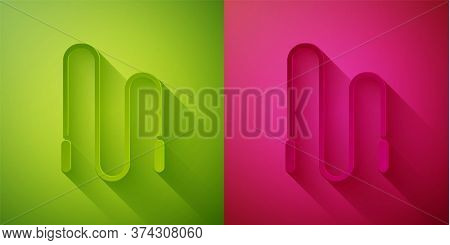 Paper Cut Jump Rope Icon Isolated On Green And Pink Background. Skipping Rope. Sport Equipment. Pape