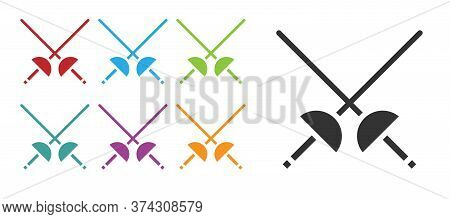 Black Fencing Icon Isolated On White Background. Sport Equipment. Set Icons Colorful. Vector Illustr