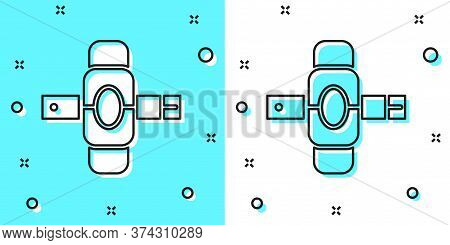 Black Line Knee Pads Icon Isolated On Green And White Background. Extreme Sport. Skateboarding, Bicy