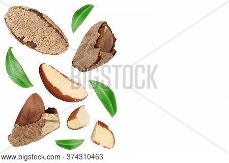 Brasil Nuts Isolated On White Background . Top View With Copy Space For Your Text. Flat Lay