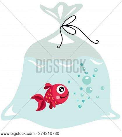 Scalable Vectorial Representing A Red Fish Inside The Plastic Bag, Element For Design, Illustration