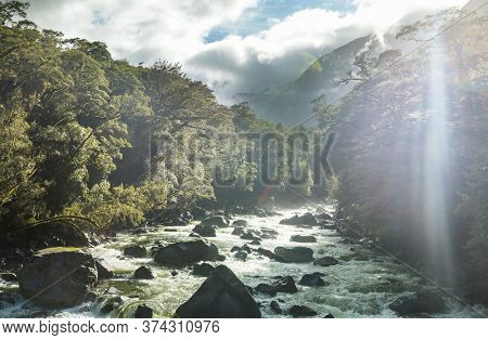 New Zealand River in the valley, beautiful mountains landscapes