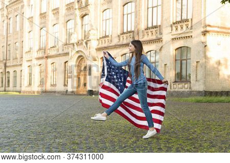 Citizenship By Birth. Little Child Hold Usa Flag. American Citizen Celebrate Independence Day. Perma