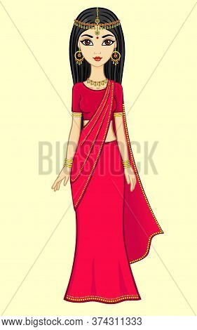 Animation Indian Princess In A Traditional Sari And Gold Jewelry, Isolated, High Growth.